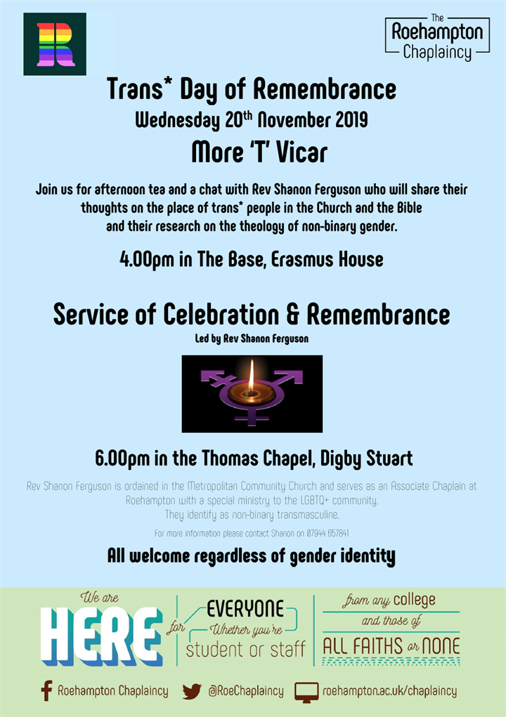 Trans* Day Of Remembrance / More 'T' Vicar
