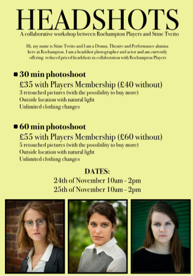 Headshots for Students - A collaborative workshop between Roehampton Players Society and Stine Tveito